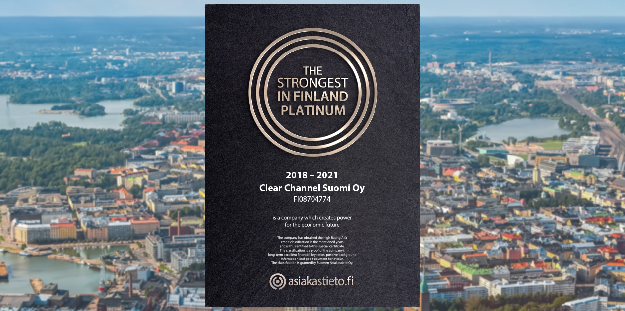 Clear Channel has earned the Strongest in Finland Certificate