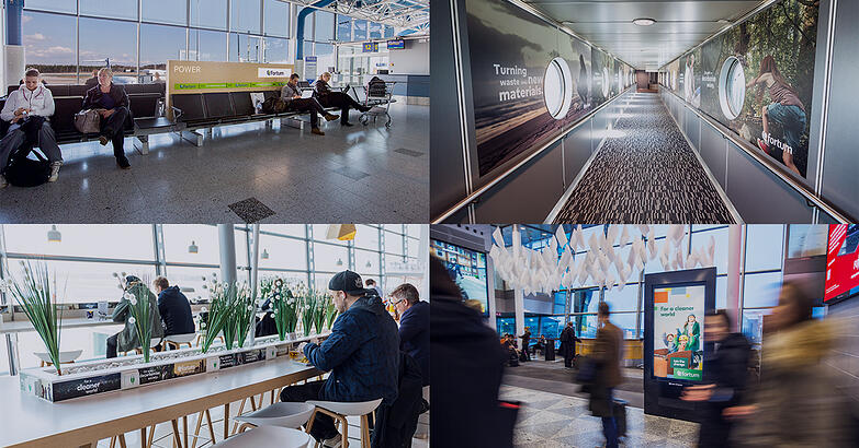 Mainoksia lentoasemalla Fortum